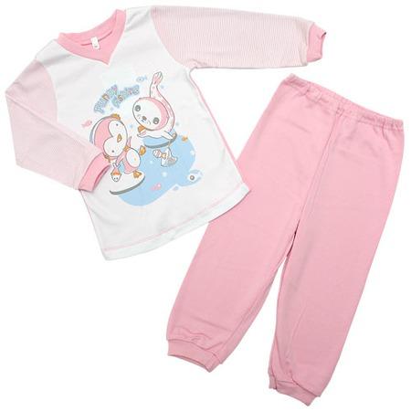 Купить Пижама IDEA KIDS «Весёлые полосатики» с V-образным вырезом. Цвет: розовый