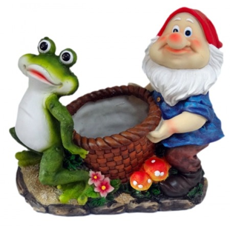 Купить Кашпо декоративное Valenсia «Гном и лягушка»