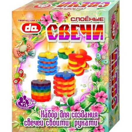 Купить Набор для создания свечей ДЕТИ АРТ «Слоёные свечи Бабочки-цветочки»