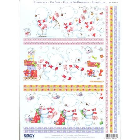 Купить Аппликация бумажная вырубная Reddy Creative Cards «Белый медвежонок зимой»