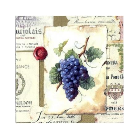 Купить Салфетки бумажные для декупажа IHR «Виноград и этикетки»