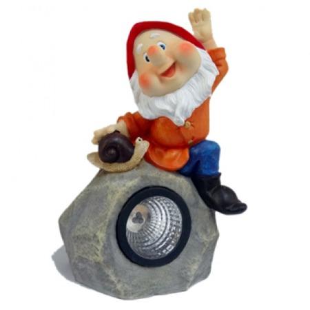 Купить Фонарь декоративный на солнечной батарее Valenсia «Гном на камне»