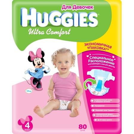 Купить Подгузники HUGGIES Ultra Comfort Giga Pack для девочек 8-14 кг. 80 шт. Размер 4