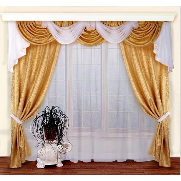 фото Комплект штор Zlata Korunka Б019. Цвет: золотистый