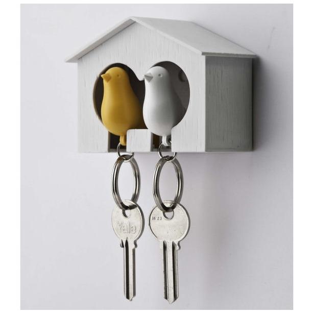 фото Держатель и брелок для ключей двойной Qualy Sparrow. Цвет: белый, желтый