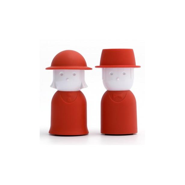 фото Солонка и перечница Qualy Mr. Pepper & Mrs. Salt. Цвет: красный, белый