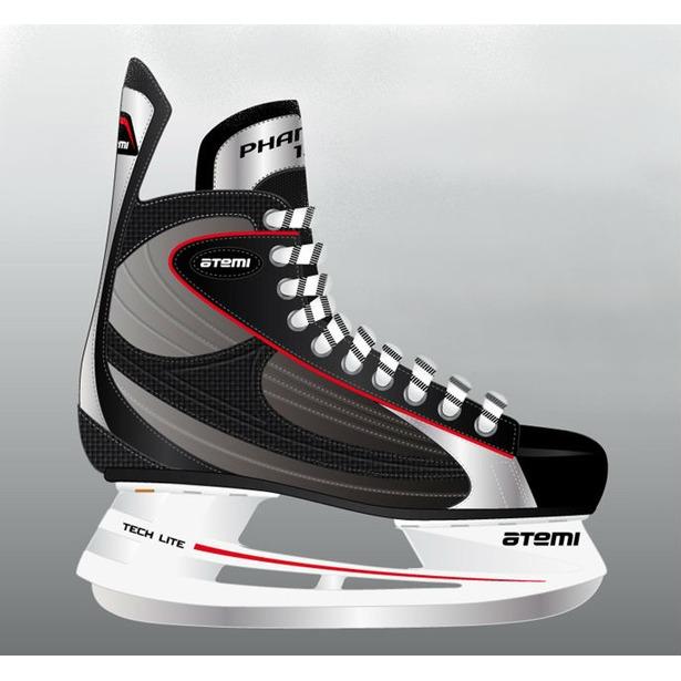 фото Коньки хоккейные ATEMI PHANTOM 1.0 RED. Размер: 45