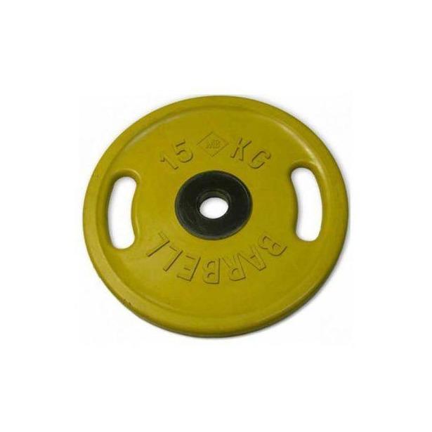 фото Диск обрезиненный с ручками Larsen NT121NC. Цвет: желтый. Вес в кг: 15 кг