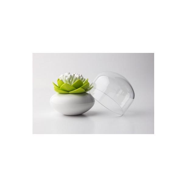 фото Контейнер для хранения ватных палочек Qualy Lotus. Цвет: белый, зеленый