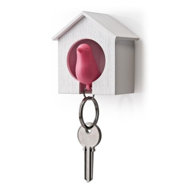 фото Держатель и брелок для ключей Qualy Sparrow. Цвет: белый, розовый