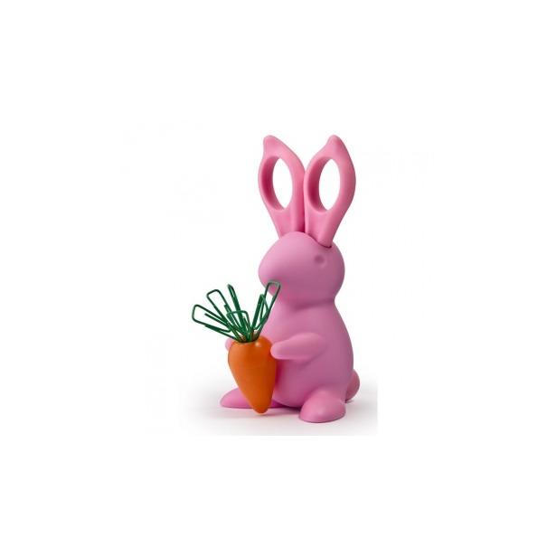 фото Ножницы и магнит со скрепками Qualy Bunny. Цвет: розовый