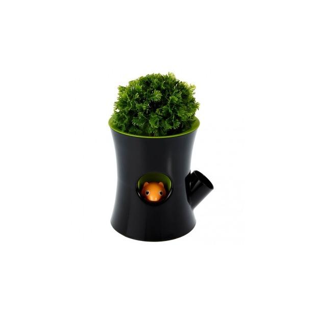 фото Горшок самополивающийся Qualy Log&Squirrel. Цвет: черный, зеленый