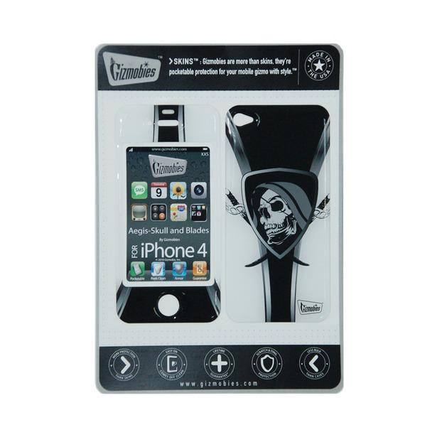 фото Наклейка 3D для iPhone 4G Gizmobies Aegis-Skull and Blades