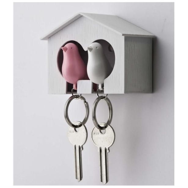 фото Держатель и брелок для ключей двойной Qualy Sparrow. Цвет: белый, розовый