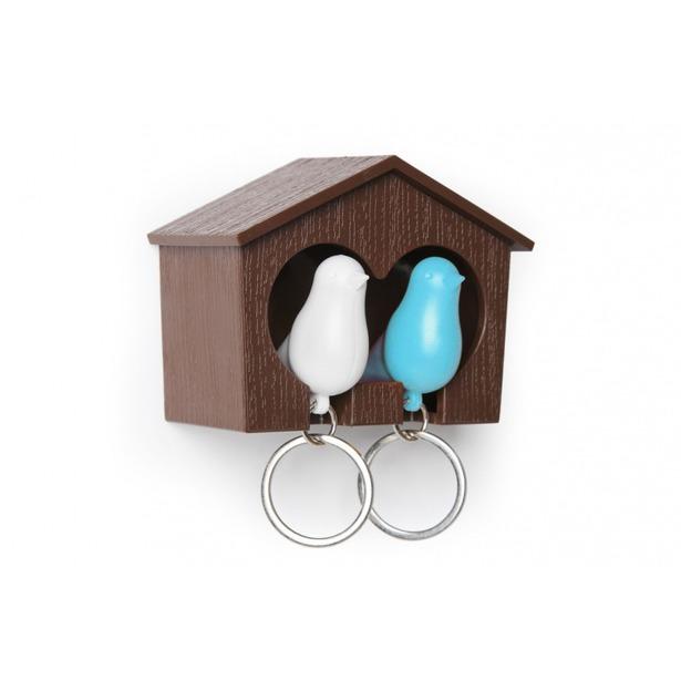фото Держатель и брелок для ключей двойной Qualy Sparrow. Цвет: белый, коричневый, голубой