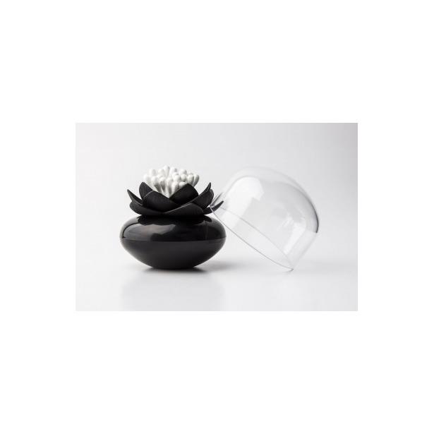 фото Контейнер для хранения ватных палочек Qualy Lotus. Цвет: черный
