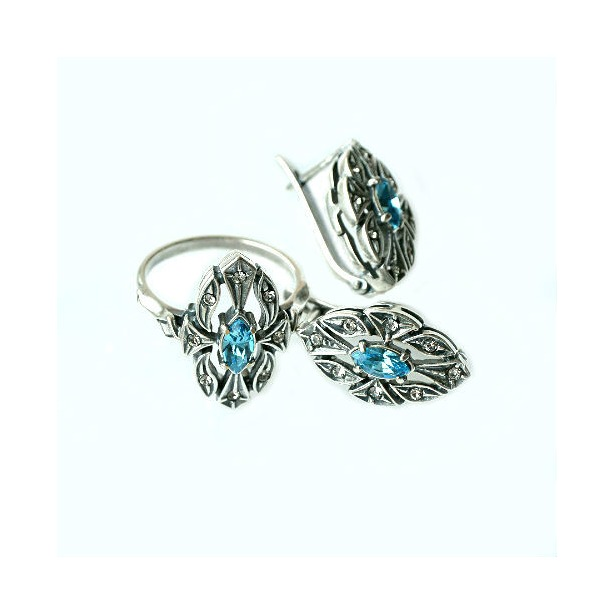 фото Серьги и кольцо JENAVI «Маркиза». Вставка: голубой кристалл