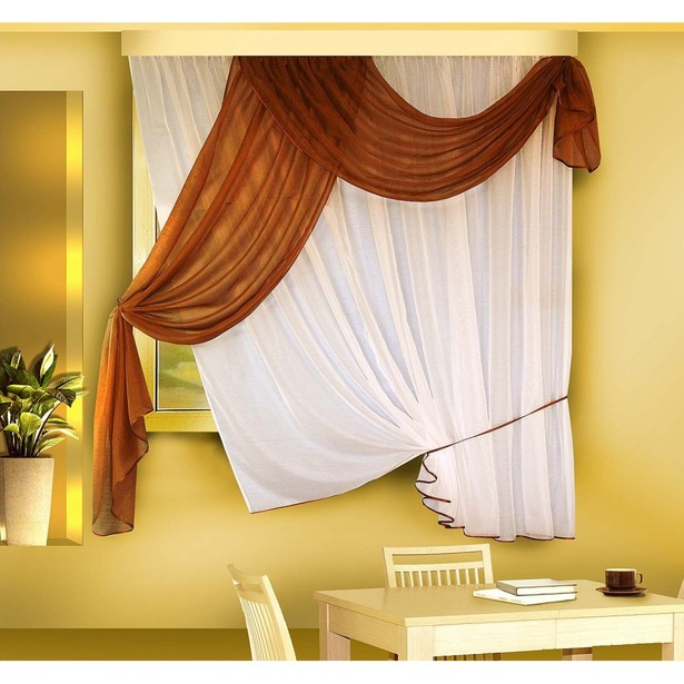 фото Комплект штор Zlata Korunka Б066. Цвет: белый, коричневый