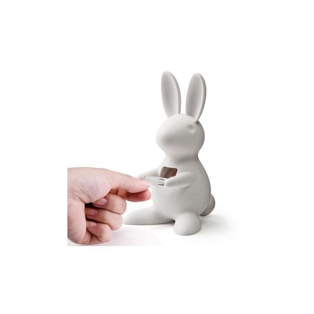 фото Диспенсер для скотча настольный Qualy Bunny. Цвет: белый