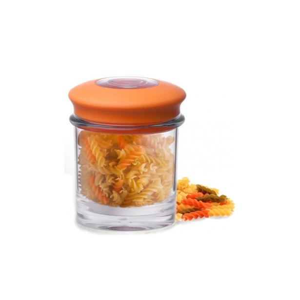фото Банка для хранения вакуумная Qualy Storage Jar. Цвет: оранжевый, прозрачный. Размер: 10,5х9,7 см. Объем: 0,5 л