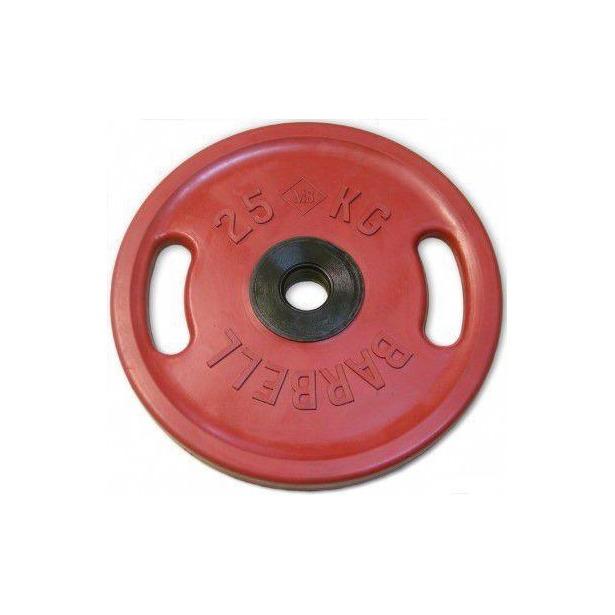фото Диск обрезиненный с ручками Larsen NT121NC. Цвет: красный. Вес в кг: 25 кг