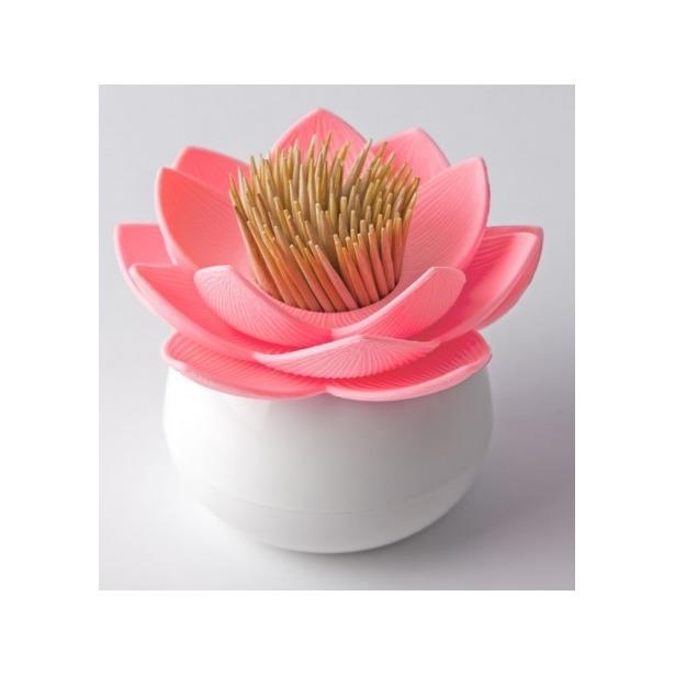 фото Держатель для зубочисток Qualy Lotus. Цвет: белый, розовый