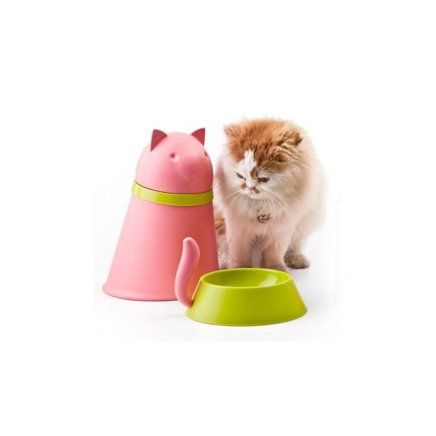 фото Контейнер и миска для кошки Qualy Kitt. Цвет: розовый