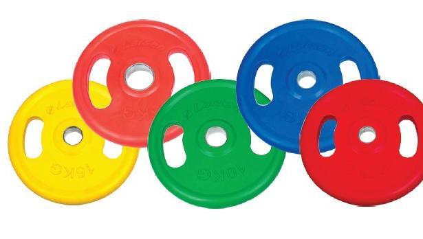 фото Диск обрезиненный с ручками Larsen NT121NC. Цвет: зеленый. Вес в кг: 10 кг