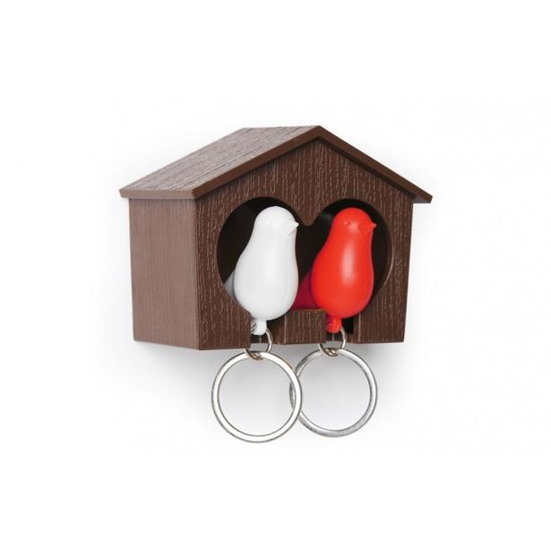фото Держатель и брелок для ключей двойной Qualy Sparrow. Цвет: красный, белый, коричневый