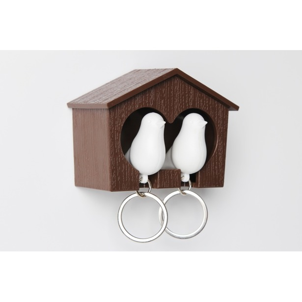 фото Держатель и брелок для ключей двойной Qualy Sparrow. Цвет: белый, коричневый