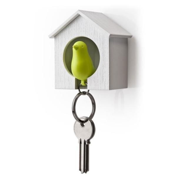 фото Держатель и брелок для ключей Qualy Sparrow. Цвет: белый, зеленый