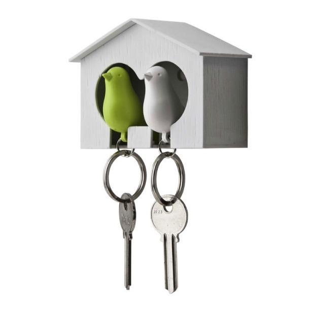 фото Держатель и брелок для ключей двойной Qualy Sparrow. Цвет: белый, зеленый