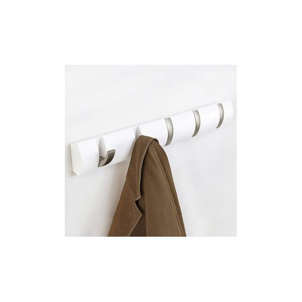 фото Вешалка настенная горизонтальная с 5-ю крючками Umbra Flip. Цвет: белый