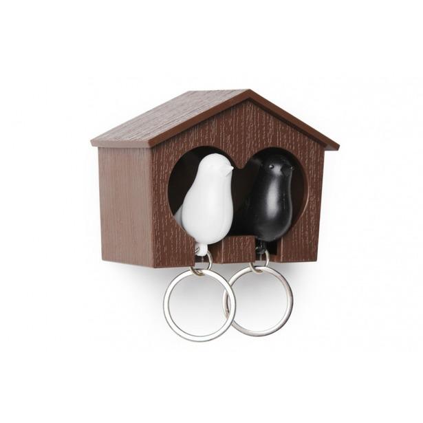 фото Держатель и брелок для ключей двойной Qualy Sparrow. Цвет: черный, белый, коричневый