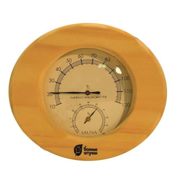 фото Термометр для бани и сауны Банные штучки в деревянном корпусе с гигрометром