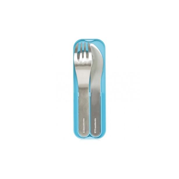 фото Набор из 3-х столовых приборов в футляре Monbento MB Pocket. Цвет: голубой, стальной