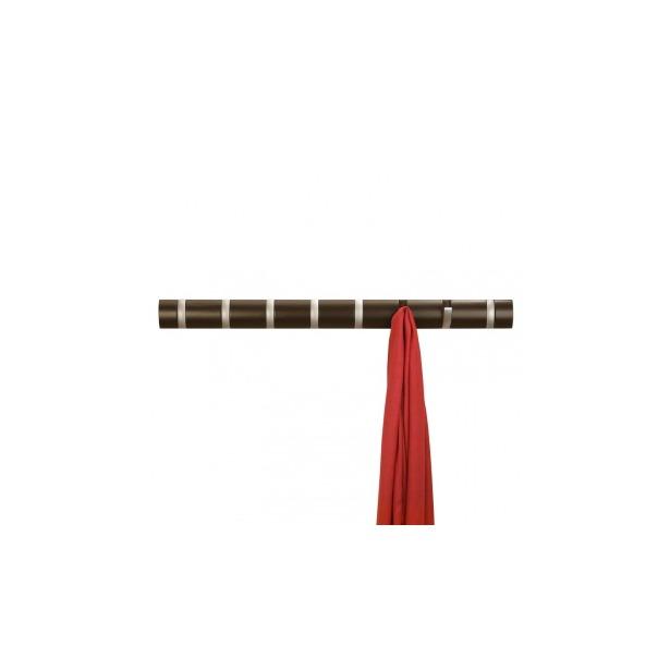 фото Вешалка настенная горизонтальная с 8-ю крючками Umbra Flip. Цвет: шоколадный