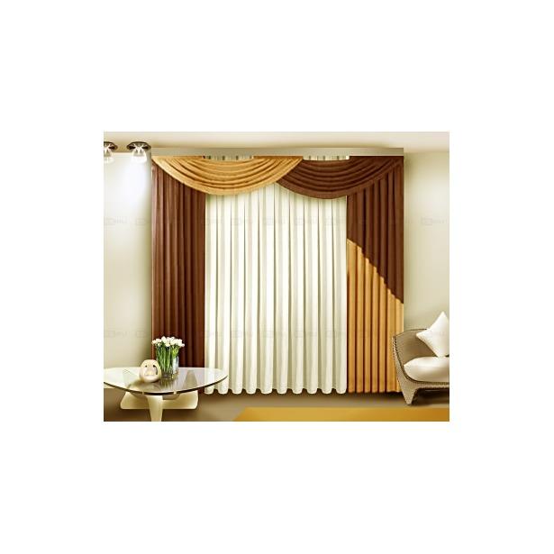 фото Комплект штор Zlata Korunka Б084. Цвет: коричневый