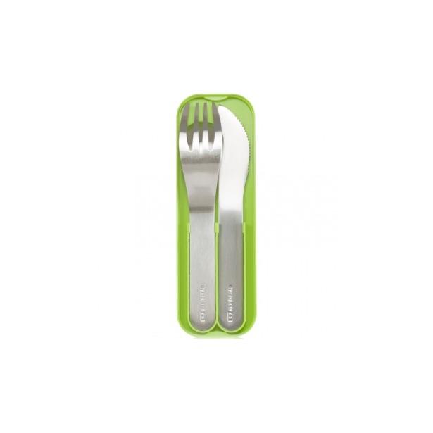 фото Набор из 3-х столовых приборов в футляре Monbento MB Pocket. Цвет: зеленый, стальной