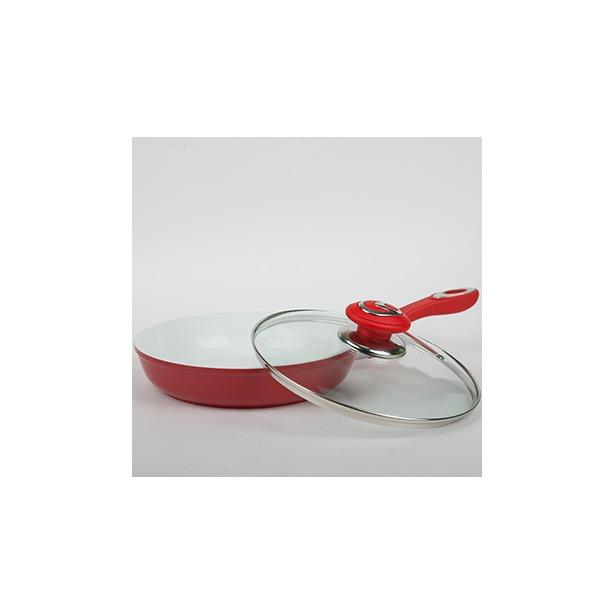 фото Сковорода с крышкой Alpenkok АК-0007. Цвет: красный. Диаметр: 24 см