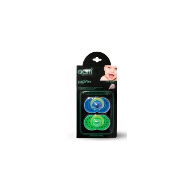 фото Пустышка Adiri Logo Pacifiers. Цвет: голубой, зеленый. Возрастная группа: от 0 до 6 месяцев