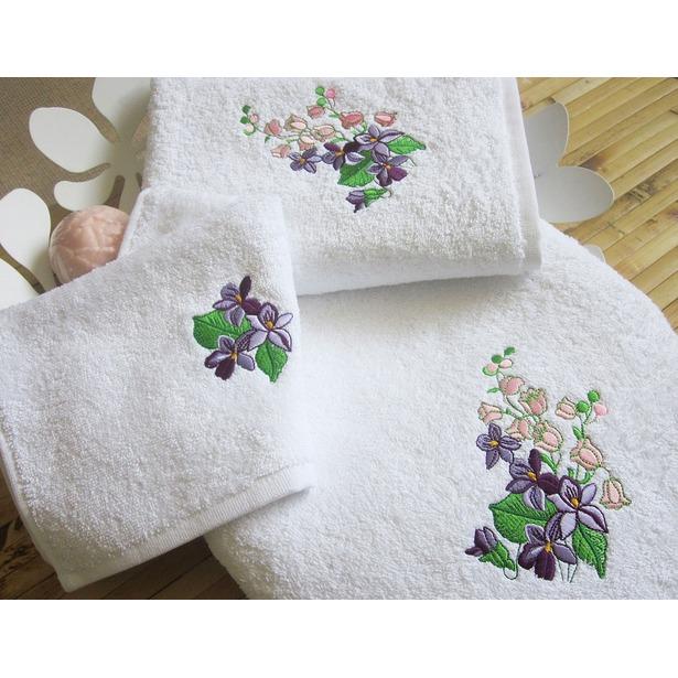 фото Комплект полотенец подарочный TAC Bahar. Цвет: сиреневый