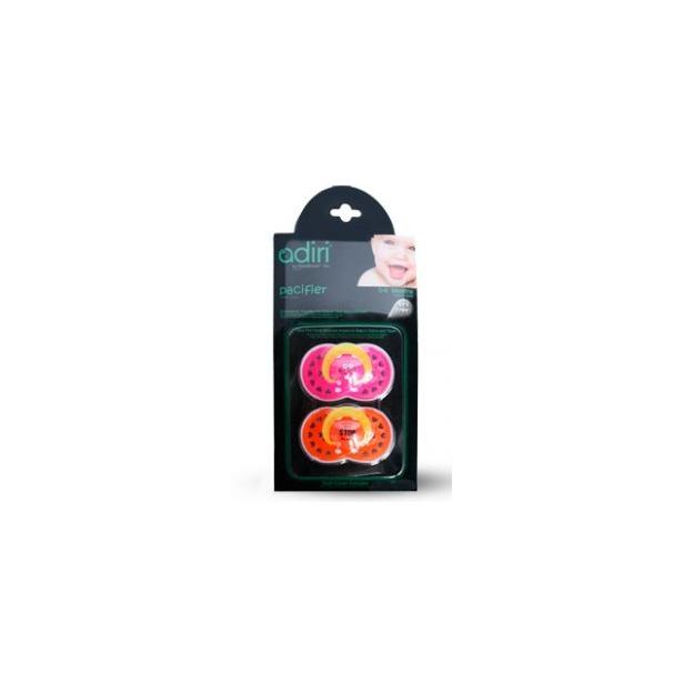 фото Пустышка Adiri Logo Pacifiers. Цвет: розовый, оранжевый. Возрастная группа: от 18 до 36 месяцев