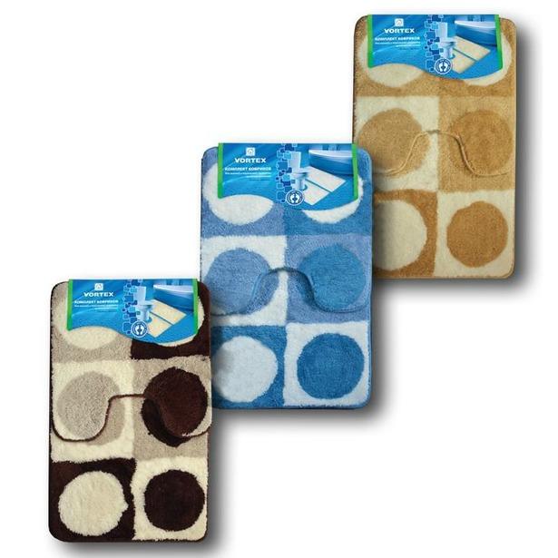 фото Комплект ковриков для ванной и туалета VORTEX на латексной основе «Круги». В ассортименте