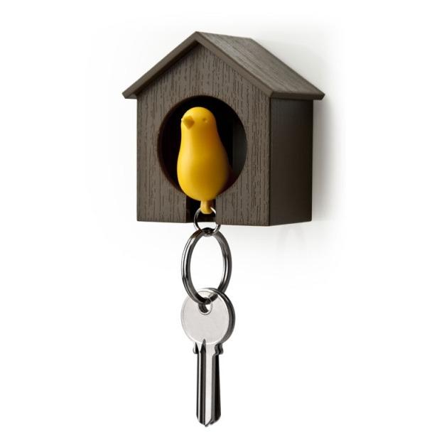 фото Держатель и брелок для ключей Qualy Sparrow. Цвет: коричневый, желтый
