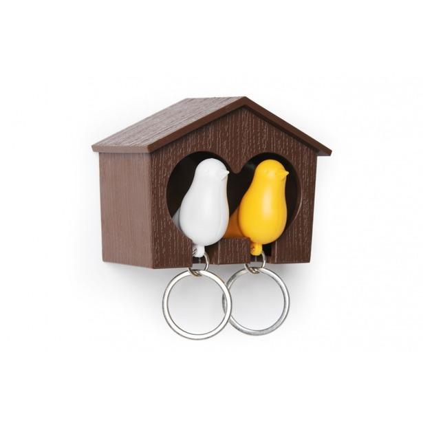 фото Держатель и брелок для ключей двойной Qualy Sparrow. Цвет: белый, коричневый, желтый