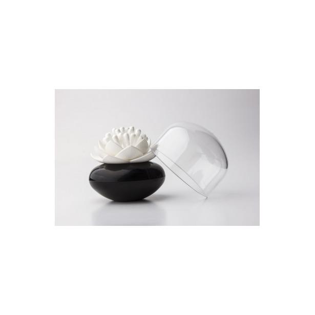 фото Контейнер для хранения ватных палочек Qualy Lotus. Цвет: черный, белый