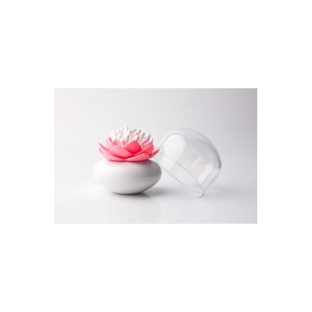 фото Контейнер для хранения ватных палочек Qualy Lotus. Цвет: белый, розовый