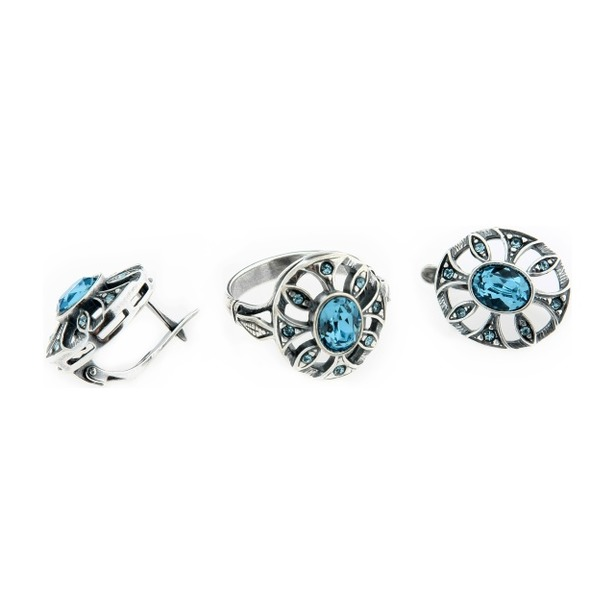фото Серьги и кольцо JENAVI «Луара». Вставка: голубой кристалл. Размер: 17