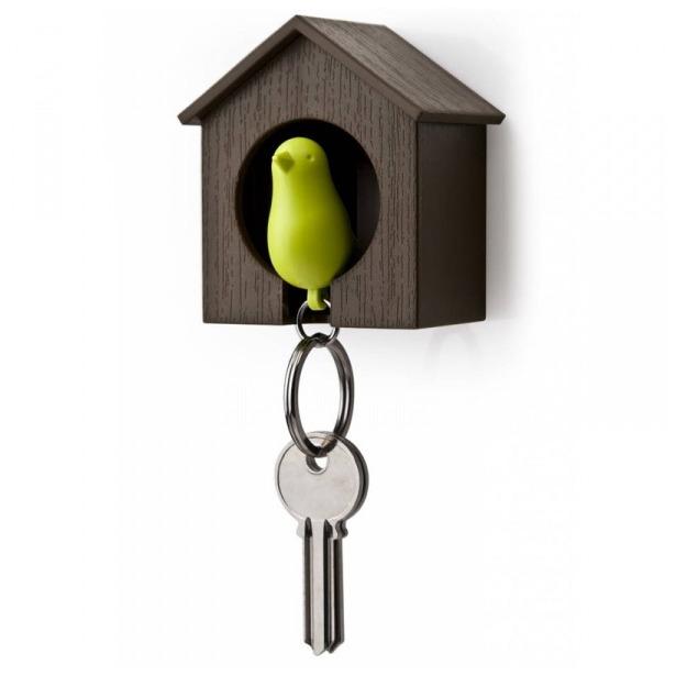 фото Держатель и брелок для ключей Qualy Sparrow. Цвет: коричневый, зеленый
